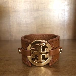 Tory Burch double snap leather cuff bracelet